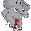 Biking elephant — Stock Vector