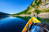 Mountain lake from kayak — Stock Photo