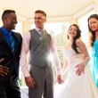 Bride and Groom with best man and bridesmaid — Stock Photo #17701093