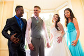 Bride and Groom with best man and bridesmaid — Stock Photo