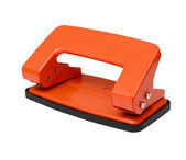 Red office paper hole puncher isolated on white background — Stock Photo