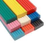 The group of objects for children colored plasticine isolated on — Stock Photo