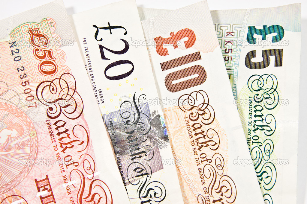Currency British pound sterling, the various denominations — Stock Photo #18283335