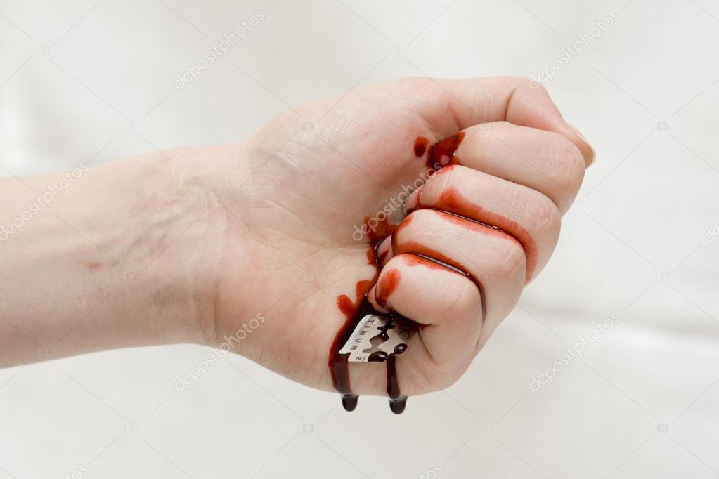 Hand cut with a razor blade. — Stock Photo © bzyxx #20882467