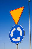 Roundabout sign — Stock Photo