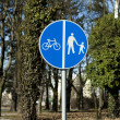 Royalty-Free Stock Photo: Road traffic sign for pedestrians - cyclists