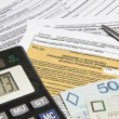 Stock Photo: Calculating taxes in Poland, PLN currency