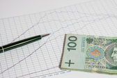 Business graph of Polish currency — Stock Photo