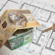 Stock Photo: Concept of building house, Polish currency