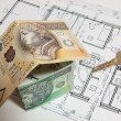 The concept of building a house, the Polish currency — Stock Photo