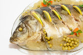Carp in aspic. Christmas Recipe — Stock Photo