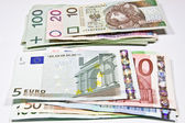 Currency Polish zloty and the euro — ストック写真
