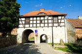 Old gate to the city Lagow in Poland — Stock Photo