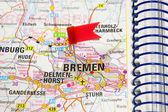 Map of the selected city Bremen, Germany — Stock Photo