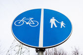 Road sign road walking cycling — Stock Photo