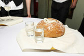 Vodka and bread and salt at the wedding — Stock Photo