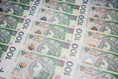 Polish money in denominations of 100 PLN — Stock Photo