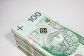 Polish money in the face value of PLN 100 — Stock Photo