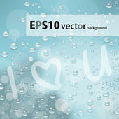 Love text on the glass with drops — Stock Vector