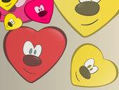 Pretty heart faces — Stock Vector