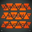 Words graduation,school,education — Stock Vector