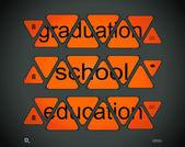"""Woorden """"graduation"""", """"school"""", """"onderwijs"""" — Stockvector"""