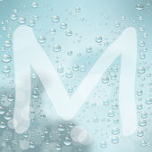 Letter M and water drop — Stock Vector