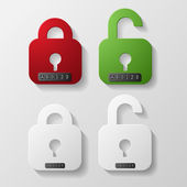 Red and green with white lockers on codes — Stock vektor