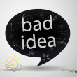 Stock Vector: Bad idea lettering bubble
