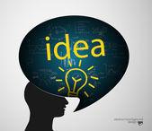 Man head bubble silhouette and idea sign — Stok Vektör