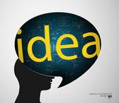 Man head bubble silhouette and idea — Stok Vektör