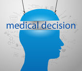 Head of man with medical decision — Stockvector