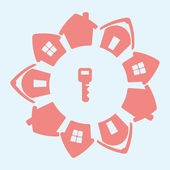 Hus och nyckel — Stockvektor