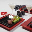 Heart red table set  — ストック写真