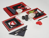 Hearts red table set — Stock Photo