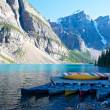 Stock Photo: Boats at Moraine Lake