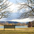 Bench at the lake — Stock Photo
