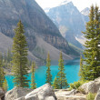 Rocks and Moraine Lake — Stock Photo