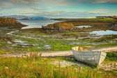 Old boat at the fjord HDR — Stockfoto
