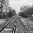 Railroad Track into the Distance BW — Stock Photo