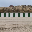 Stock fotografie: Beach Huts with Dunes Behind