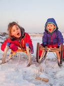 Crianças pequenas em trenós — Foto Stock