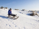 Small boy sledging down a hill — Stock Photo