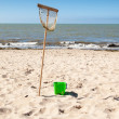 Fishing net and bucket — Stock Photo #34100201
