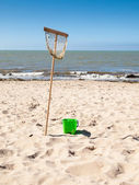 Fishing net and bucket — Foto Stock