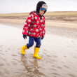 Small boy walking on the beach in winter — Stock Photo