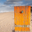 Stock Photo: Beach post with selevel marker