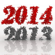 2014 and 2013 year. Numbers on white — Stock Photo #33085659