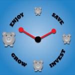 Piggy bank symbols and a clock symbol. — Stock Photo