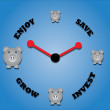 Stock Photo: Piggy bank symbols and clock symbol.